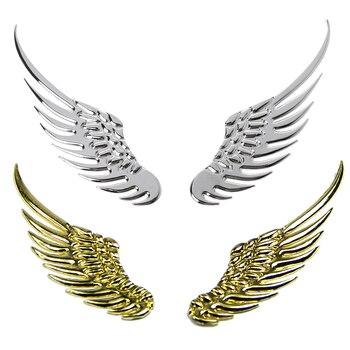 1 пара стильных стикеров для автомобиля, Модные металлические наклейки, 3D крылья, автомобильные наклейки, автомобильные аксессуары для мото...