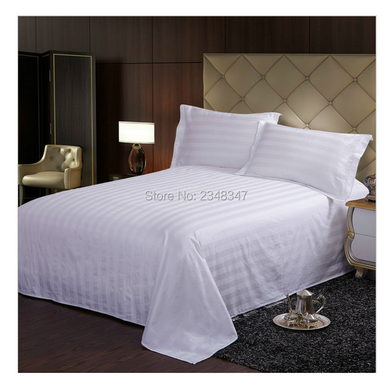 Quality white cotton hotel home satin stripes twin full for King shams on queen bed