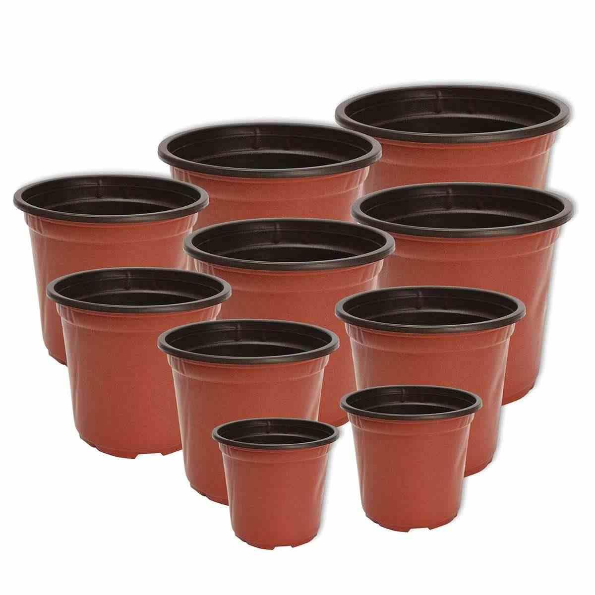 100 Pcs/set Bunga Pot Pot Tanaman Plastik Desktop Pot Tanaman Hijau Taman Lembut Nursery Pot Bunga Rumah Vegetasi Alat 12 Ukuran