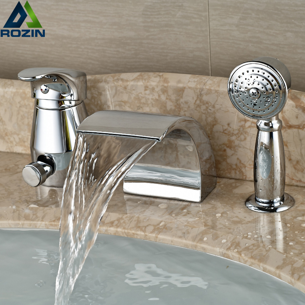 Waterfall Spout Bathroom Faucet: Polished Chrome Waterfall Spout Bath Tub Mixer Faucet