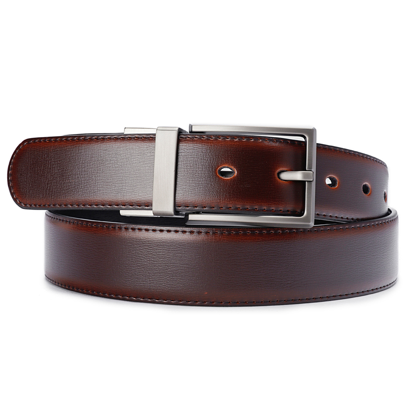 Image 4 - Men's Genuine Leather Belt Reversible Buckle Belts For Men Luxury Strap Male Waistband Rotated Buckle Dress Belt 75cm to 160cm-in Men's Belts from Apparel Accessories on AliExpress