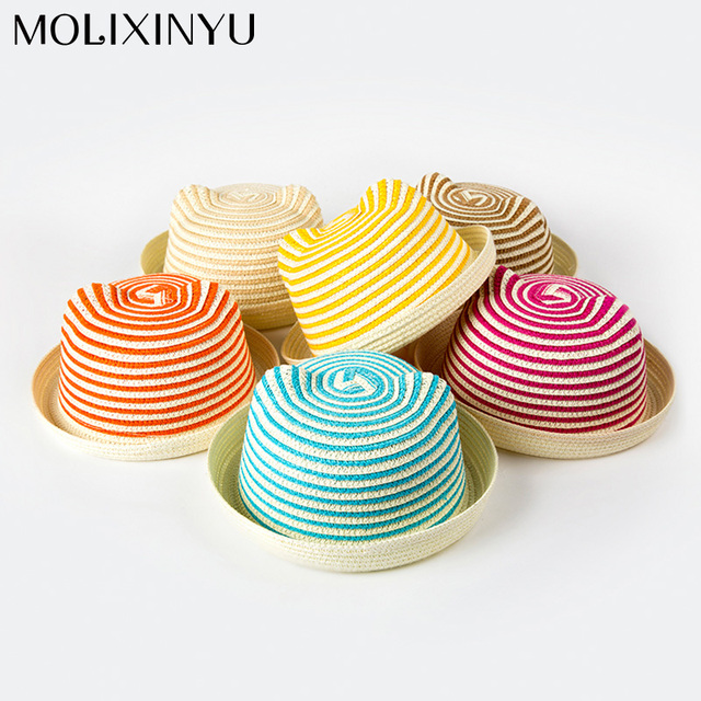 563da19181a MOLIXINYU Girls Cap Summer Baby Boys Straw Hat Kids Cat Ear Cute Beach Cap  Girls Boys Solid Sun Hat Baby Summer Cap For Girls