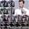 "Check 3.4"" 100%Silk Wedding Jacquard Woven Men Tie Necktie Pocket Square Handkerchief Set Suit ECC"
