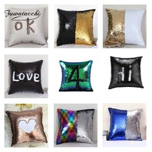 Fuwatacchi Changing Reversible Patchwork Solid Cushion Cover Mermaid Sequin Throw Pillow Decorative Sofa Pillowcase