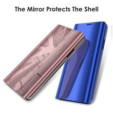 Mewah Jelas Melihat Smart Ponsel Cermin Case untuk Samsung A3 A5 A6 A7 2017 GALAXY A8 Plus 2018 Flip Stand kulit Hard(China)