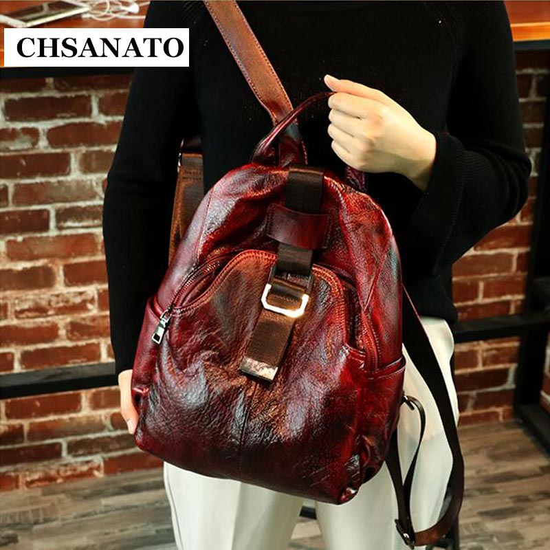 CHSANATO Retro Unique Designer Anti Theft Backpack Women Genuine Leather Back Pack Lady Real Leather Backpacks Girls Shoolbag