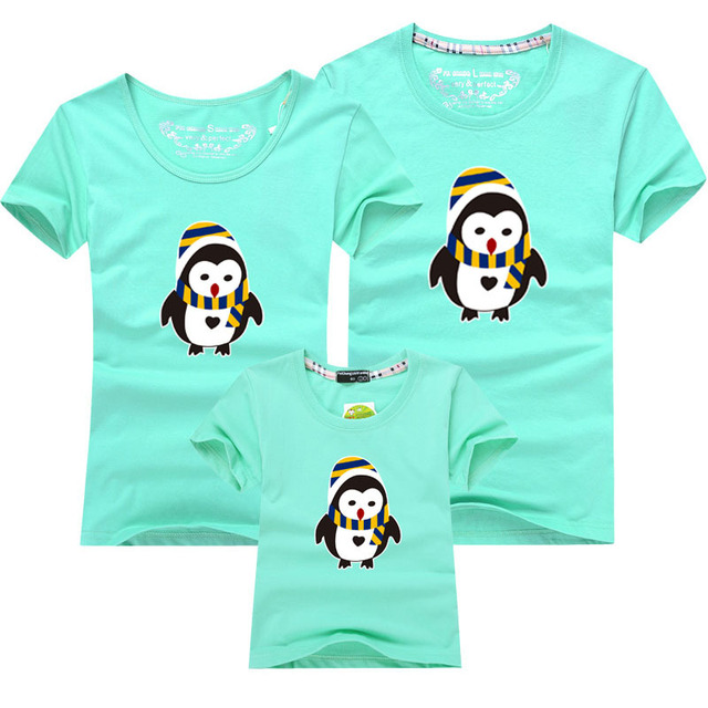 Family Matching Set Heat Transfer Game Character Cute Penguin T ...