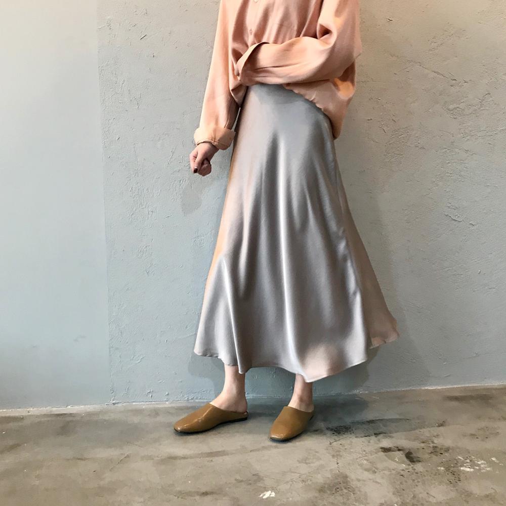 Summer Silk Satin Skirt 2019 Vintage Long High Waist Midi Skirt For Women's A-Line Elegant Autumn Woman Fishtail Skirts Y0320