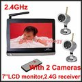 2.4G receiver,with 2 cameras7 inch LCD Monitor 2.4G Wireless Receiver,CCTV Camera CCTV receiver,baby monitor,4 channels support