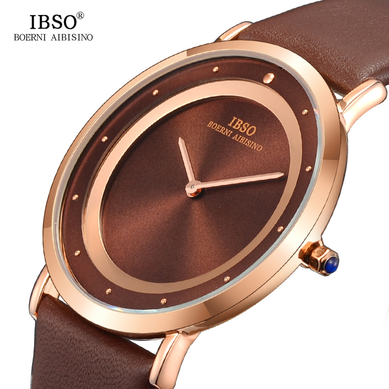 IBSO 7MM Ultra-thin Mens Watches Top Brand Luxury 2018 Fashion Double Dial Simple Quartz Watch Men Black Clock Relogio Masculino