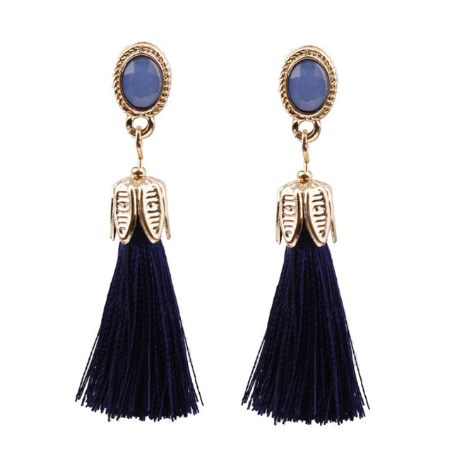 82acb9b65 ROXI 7 Color Bohemia Long Tassel Earrings For Women Fashion Red Green Blue  Silk Fabric Dangle