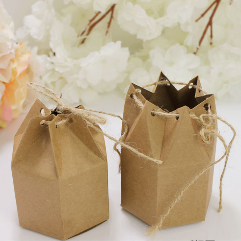 Image 3 - 50pcs Candy Dragee Box Kraft Gift Bag Wedding Favor Gift Boxes Pie Party Box Bag Eco Friendly Kraft Gift Bags Wrapping Supply-in Gift Bags & Wrapping Supplies from Home & Garden