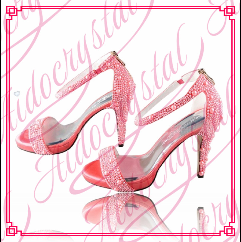Aidocrystal Women Pink Rhinestones Pearls Ankle Strap High Heel Sandals Summer Shoes Woman Peep Toe High Heels Pumps aidocrystal woman ankle strap high heel sandals new arrival hot sale fashion office summer women casual women shoes