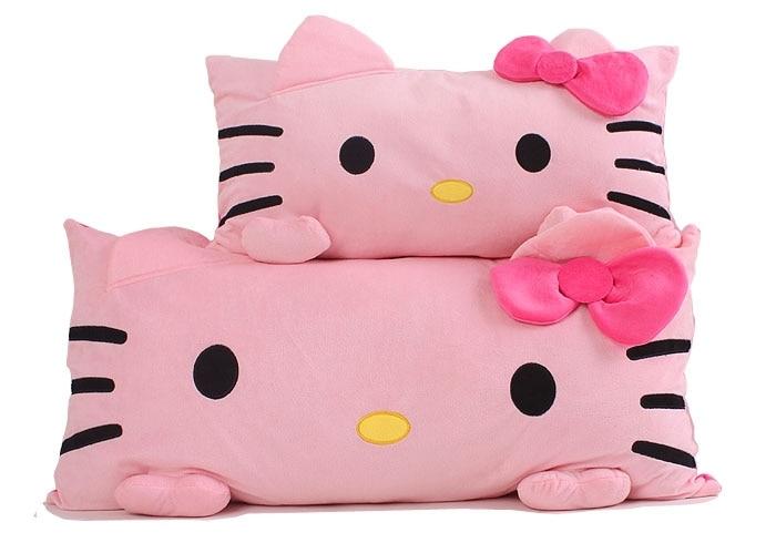 Free Shipping Cartoon Hello Kitty Single Pillow 60*35cm, Cute Bow Hello Kitty Plush Toys Cushions, Girls Valentine's Day Gift