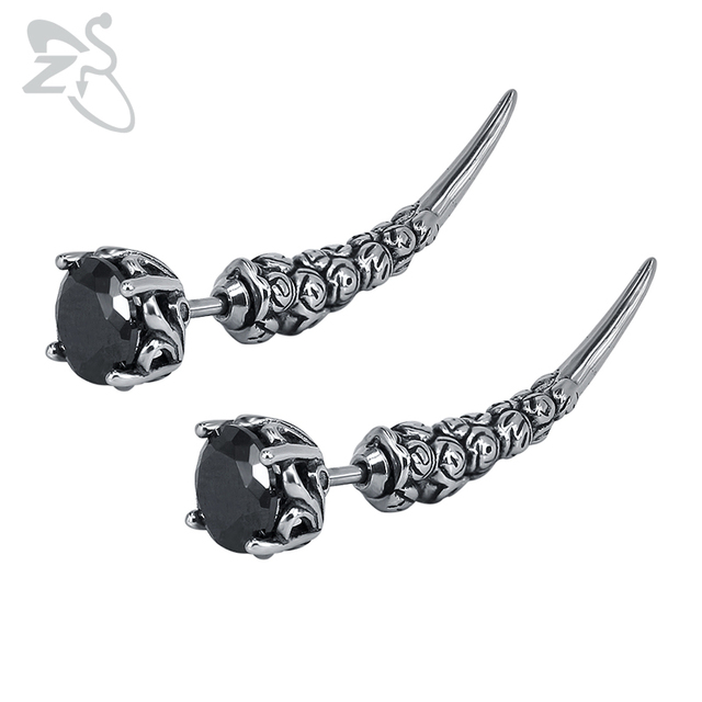 6a4af7bc45492 US $10.2 18% OFF|ZS Men's Stainless Steel Stud Earrings Punk Style Hip Hop  Earring Vintage Gothic Ear Piercing Jewelry Black CZ Stone Earing 2018-in  ...