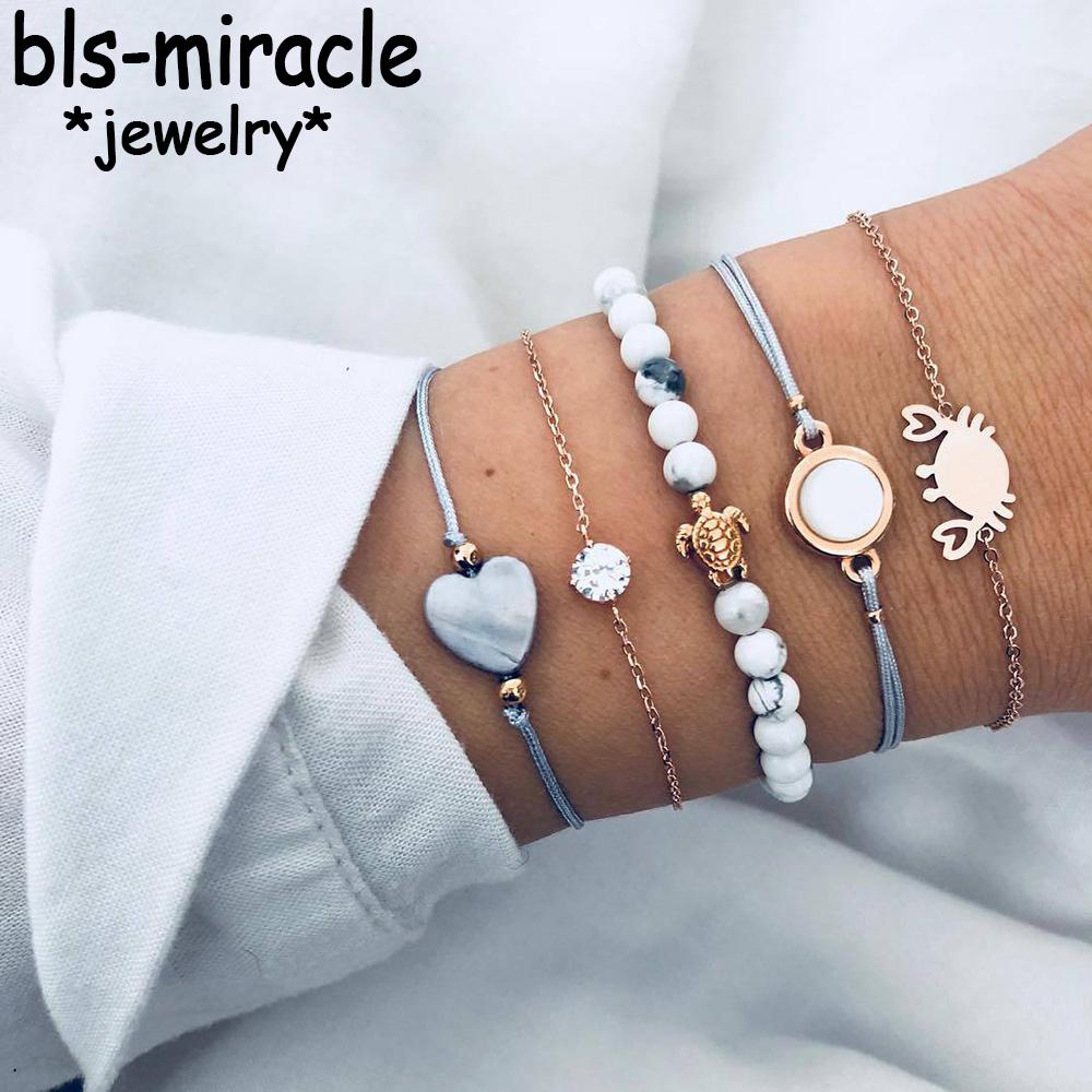Bls-miracle Boho Crab Heart Charm Bracelets Set For Women New Design Stone Beads Infinite Statement Bracelet Vintage Jewelry