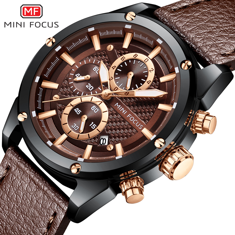 цена MINIFOCUS Men Watch 2018 New Luxury Band Fashion Casual Leather Men Wristwatch Black Waterproof Watches For Male Montre Homme