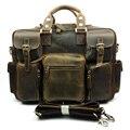 Luxo Do Vintage Feitos À Mão de Couro Genuíno Laptop Maleta Homens Messenger Bag Satchel Bolsa de Couro Duffle Viagem Chocolate Quente