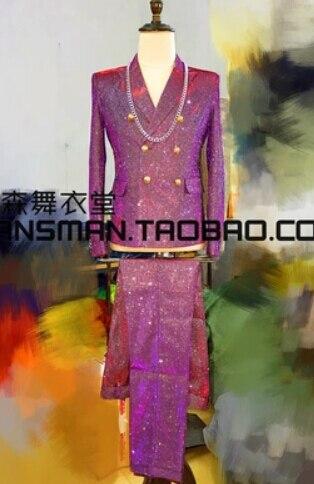 Homens GD Bigbang cantores ternos Coloridos gradiente dj mostra figurinos terno partido prom noivo terno masculino prata roxo! M-3XL