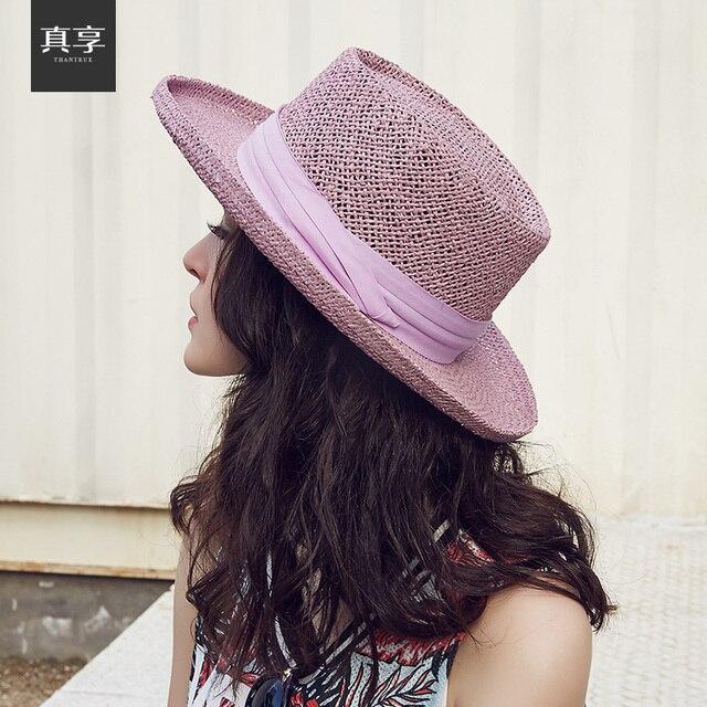 Vintage Hand Woven Bow Big Brim Beach Hat Female Summer Women Adult Casual Solid Straw Hat Ladies Female Sun Cap B-4706