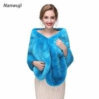 Blue Women Bolero Winter 2018 Cheap Wedding Wrap Elegant Bridal Coat High Quality Lady Wraps