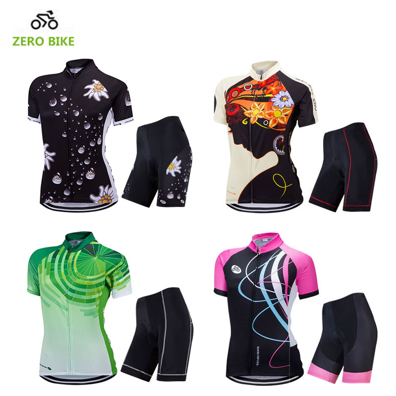 ZEROBIKE Summer Women Cycling Jersey Set Quick Dry Breathable Bike Clothing Short Sleeve Bicycle Suit 4D Padded Ropa Ciclismo ckahsbi winter long sleeve men uv protect cycling jerseys suit mountain bike quick dry breathable riding pants new clothing sets