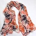Шелковый Шарф Шаль Мода Orange Розовый Кулон Длинные Шарфы Для женщины Марка Плюс Размер Дамы Шелковый Шарф Мыс Осень Зима шарфы