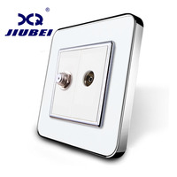 Manufacture Jiubei White Crystal Glass Panel 2 Gangs Wall TV And Satellite Socket Outlet SV C701VS