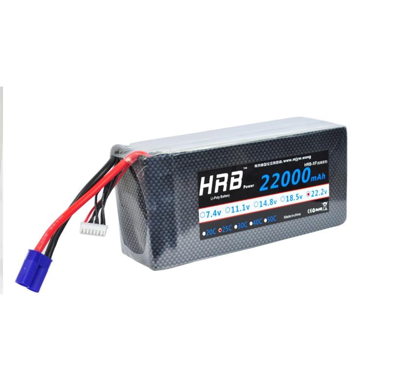 HRB 22.2V 22000mAh 25C 50C 6S Lipo Battery Akku For RC Car UAV Multicopter DJI Drone Spy Spreading Wing S1000 Ebike