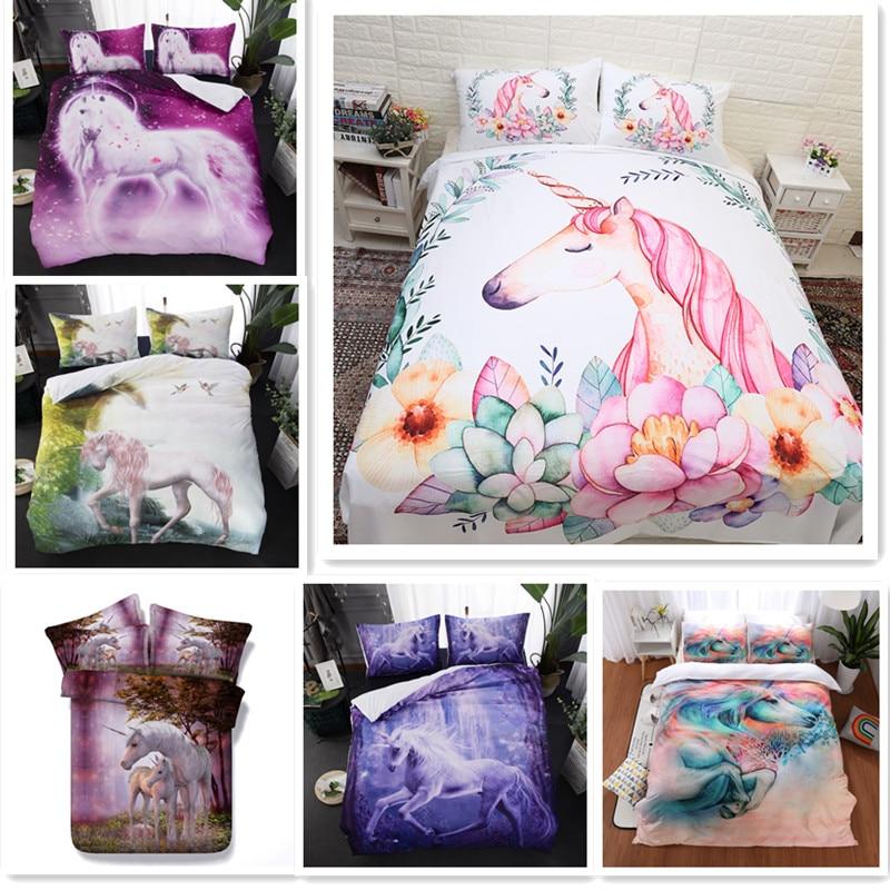 Fanaijia kids 3D Flowers unicorn Duvet Cover with pillow case Cartoon flower Bedding sets queen size