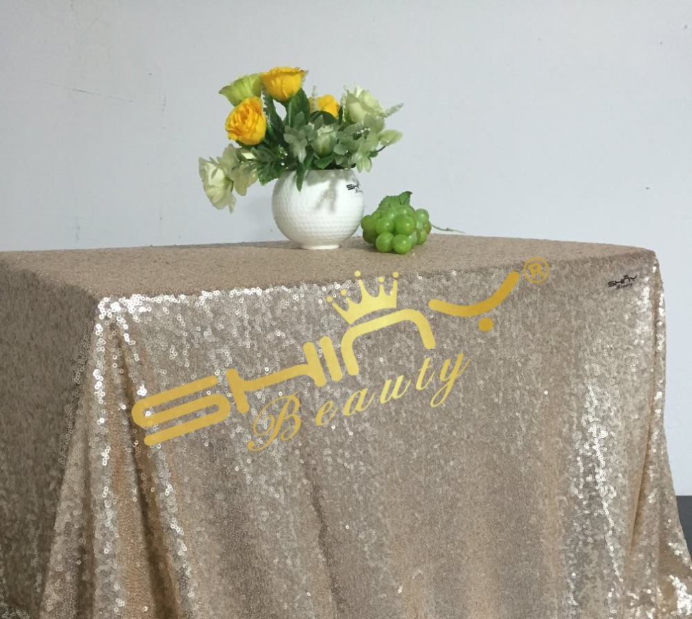 On Sale 50*50 Champagne Sequin Tablecloths, Champagne Color, Cheap Price Cake Tablecloth, Cocktail For Wedding Decor