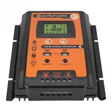 Controlador de carga solar, 12v 24v 30a 50a 70a mppt controlador de carga solar controlador de carga regulador de painel solar bateria duplo usb lcd exibição de tela