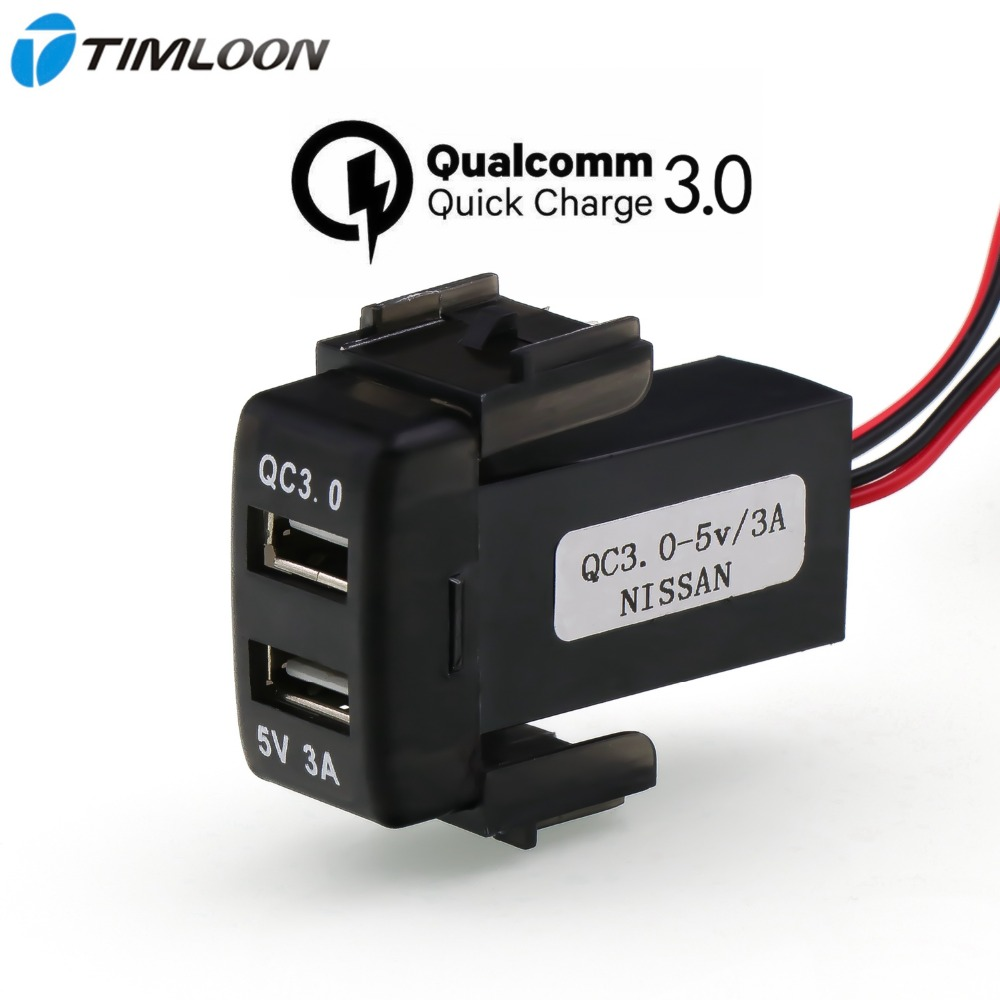 QC3.0+5V 3A USB Interface Socket Fast Car Charger,Quick Charge Car Charger Use for NISSAN,Qashqai,Tiida,X-trail,Sunny,NV200