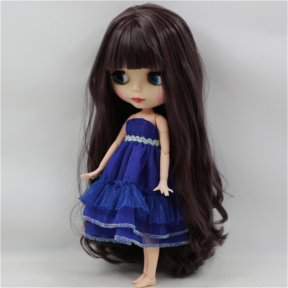 Blyth Doll Nude with bangs deep Purple long wavy Hair bjd 1/6 Joint Body suit for DIY model toys blyth nude doll joint body with long wavy white hair 4 colors big eyes 1 6 bjd blyth dolls suitable diy makeup toys