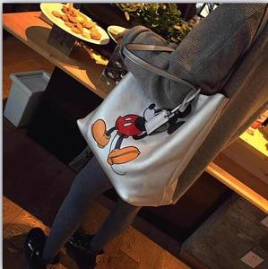Image 2 - Bolso de hombro de gran capacidad con dibujo de Mickey Mouse de Disney, bolso de mano para mujer, de compras, de ocio, a la moda