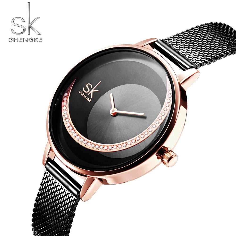 Shengke Rosegold Black Mesh Strap Women Watches Creative Crystal Dial Design Luxury Ladies Quartz Movement Relogio Feminino