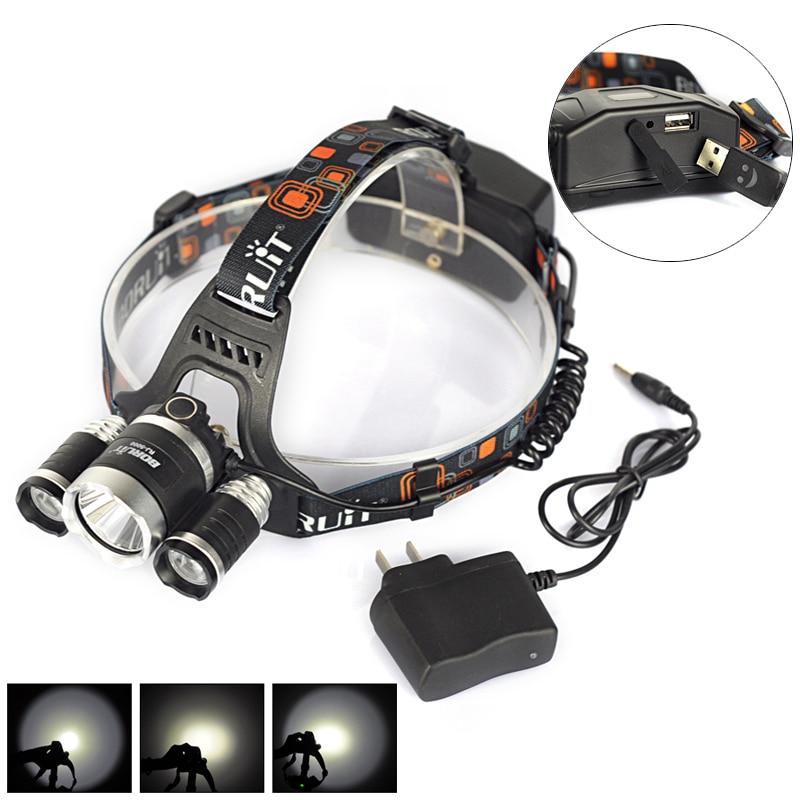 Boruit RJ 5000 4Mode 3x XML L2 LED Headlight Headlamp Luces de Cabeza Flashlight Head Lamp