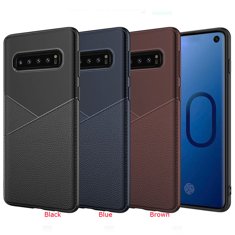 100pcs lot For Samsung Galaxy S10 S10 Plus Litchi Shockproof Ultra Thin Rubber TPU Case For