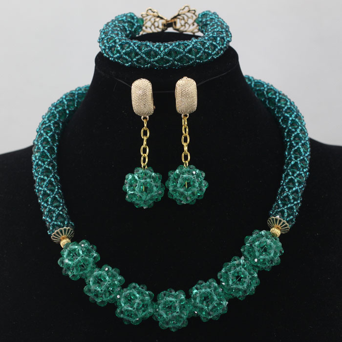 Glamorous Teal Green Wedding African Beads Jewelry Set Chunky Necklace Ball Chain Earrings Free