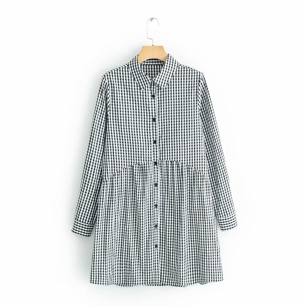 2019 new women vintage plaid printing shirtdress casual slim dress female pleats patchwork vestidos chic business dresses DS1962