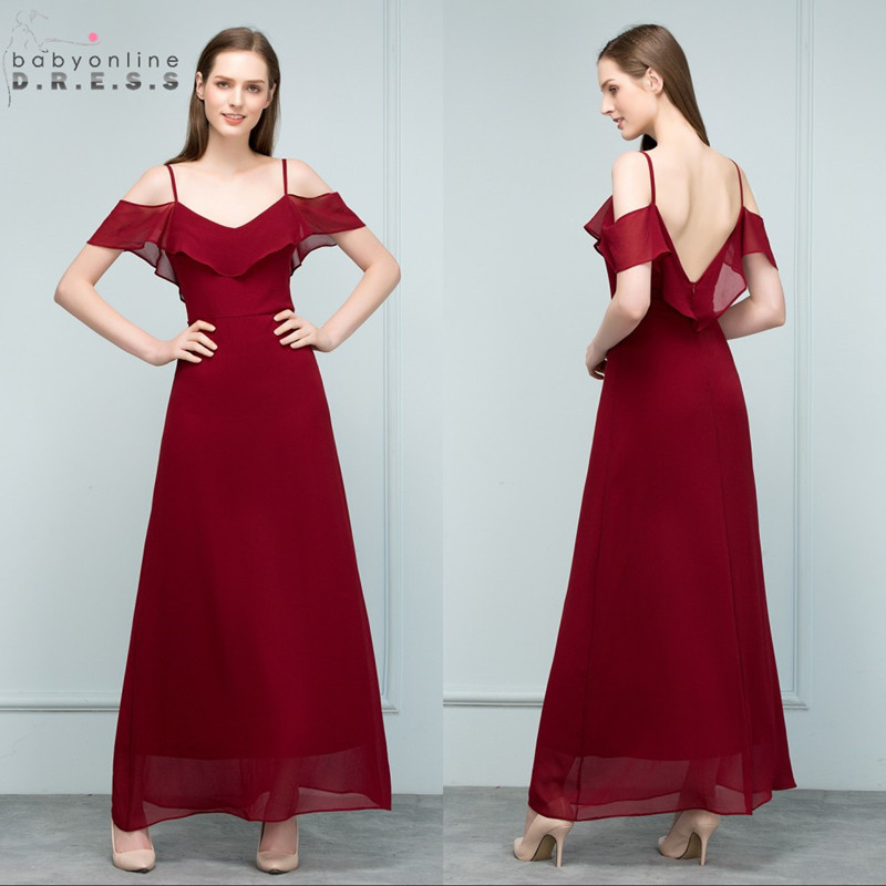 Stock Clearance Burgundy Chiffon Long   Evening     Dress   Sexy Spaghetti Straps Cap Sleeve   Evening   Party   Dresses   Vestido de Festa