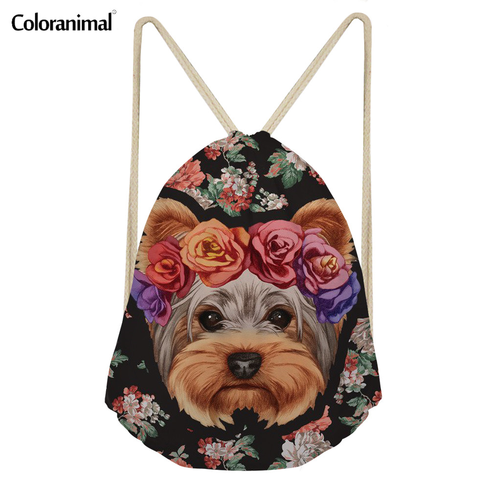Coloranimal Women Teen Girl Backpack Casual Female String Shoulder Backpack Fitness Yoga Shoes Flower Floral Dogs Drawstring Bag
