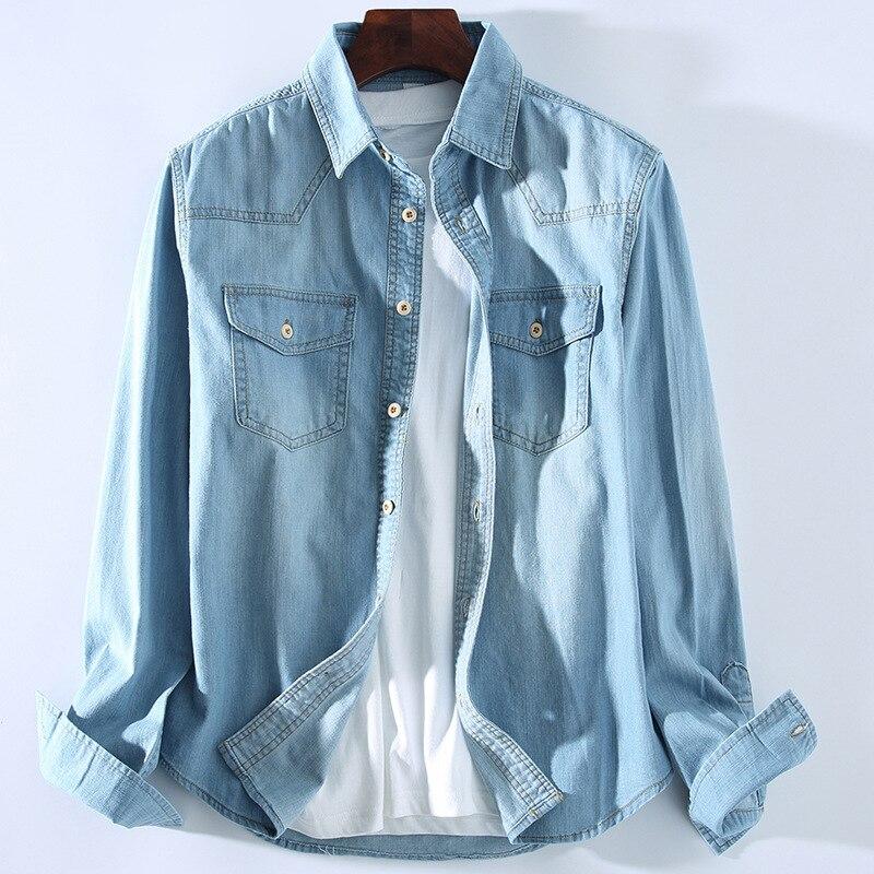 e5bc4a4497d HO 2019 washed light blue denim shirt Men s casual splicing cowboy shirts
