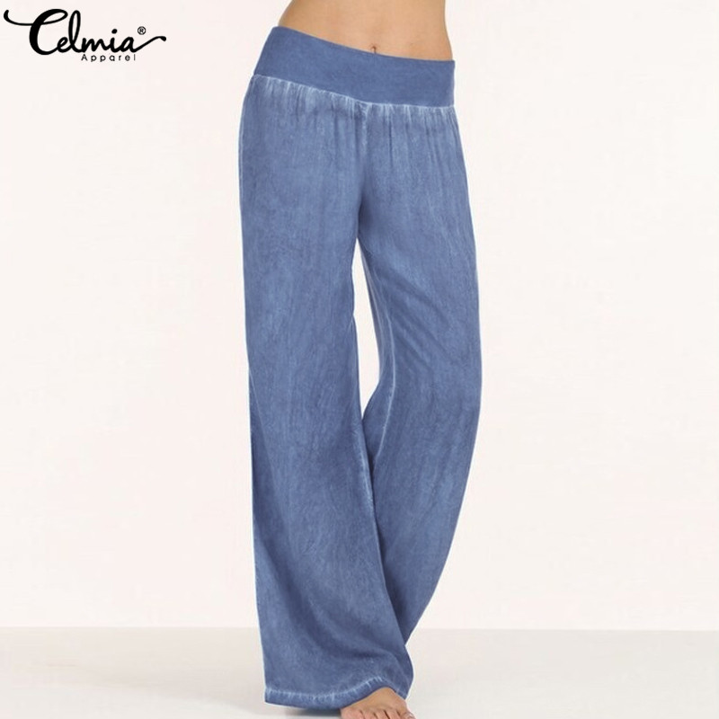 Fashion Women Elastic Waist   Wide     Leg     Pants   Jeans Celmia 2019 Casual Loose Long Trousers Solid Pantalon Femme Plus Size Palazzo