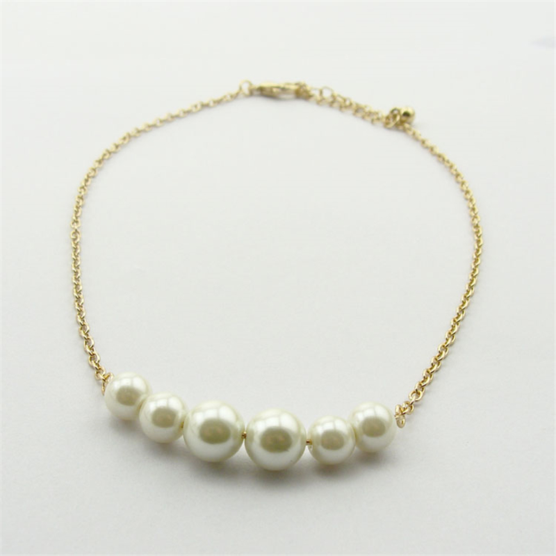 Women Special store Gold simulated pearl alloy chokers necklace clavicle chain