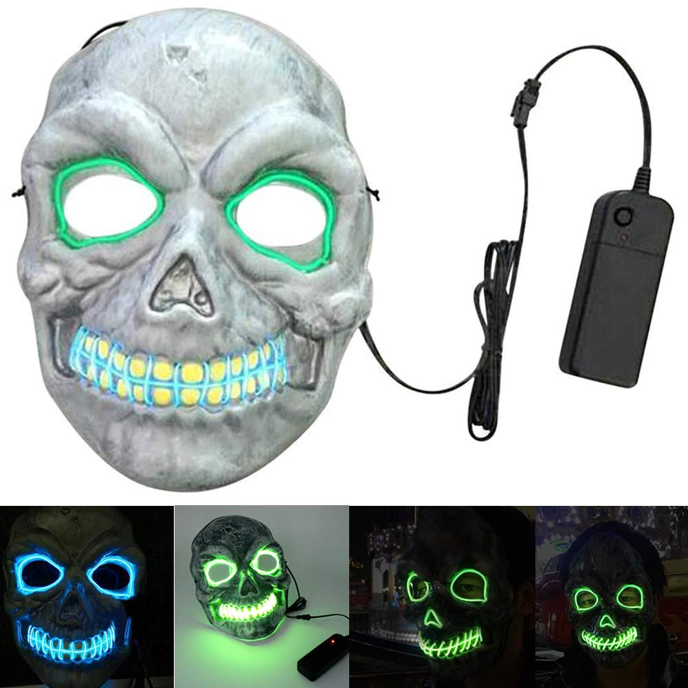 Fashion Novelty LED Adult Mask PVC EL Wire Fancy Scary Skull ...