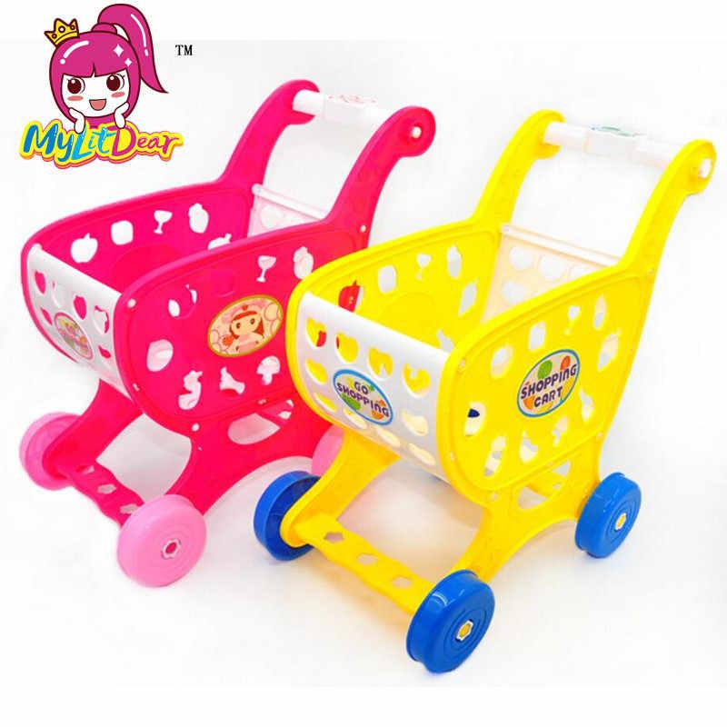 Mini Supermarket Handcart Troli Mainan Bayi Mainan Gerobak Utilitas Modus Buah Sayuran Keranjang Belanja Keranjang Mainan untuk Anak Dapur