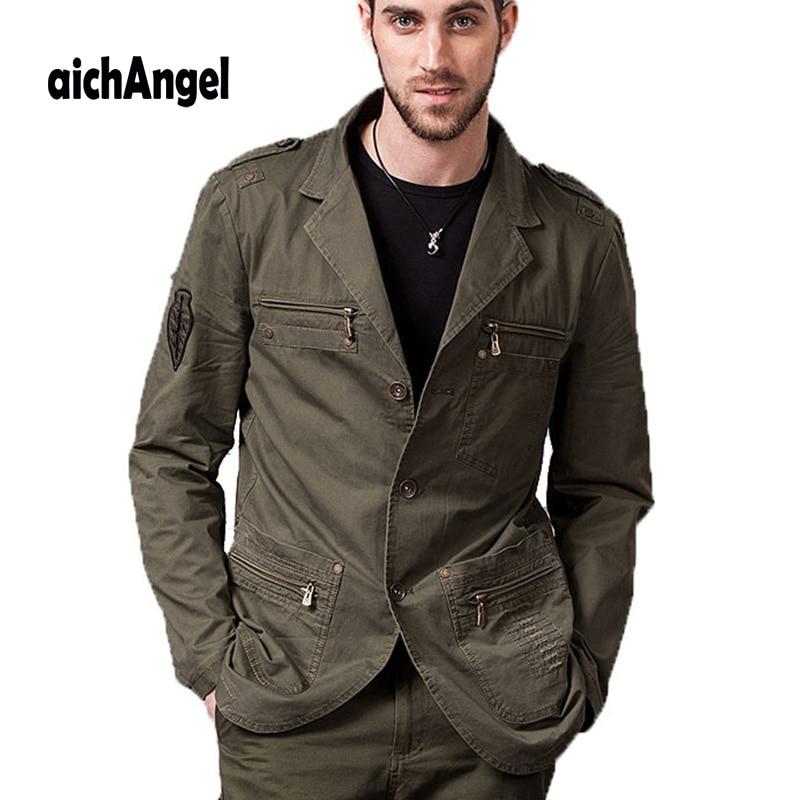 New Men's Casual Blazers Designer Fashion Military Style 100% Cotton Male Jacket Coat Men Blazer Masculino Fit Slim