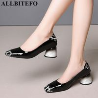 ALLBITEFO hot sale genuine leather mixed colors thick heel women shoes women high heel shoes office ladies shoes girls pumps
