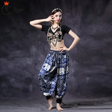 Women ATS Tribal Belly Dance Clothes Harem Trousers Pants Costume Choli Tops and Pants Gypsy Dance Coin Bra Bloomers